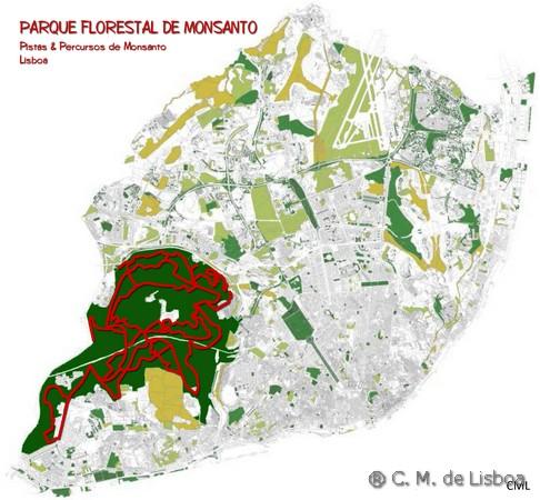 mapa de monsanto lisboa CICLOVIA   Pistas de Monsanto mapa de monsanto lisboa